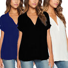 Plus Size AU 8-22 Women Casual Chiffon V neck Solid Top Blouse Loose Tee Shirt