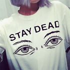 Women Summer Fashion T-shirt Printed Stay Dead Letter Round Neck T Shirt Casual