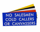 Engraved Plaque No Salesmen Cold Callers Or Canvassers Door Sign 125mm x 50mm