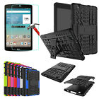 For LG G Pad III / X 8.0 Glass Screen + Shockproof Rugged 2in1 Hybrid Case Cover