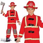Childs Boys Fireman Emergency Fire Rescue Fighter Fancy Dress Costume Outfit Hat