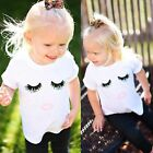 Cute Kids Eyelash Lips Printed T-shirt Short Sleeve Boys Girls Clothes Tops