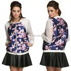 FINEJO Women Lace Organza Sleeve Patchwork Floral Jacket Tops N4U8