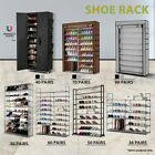 50/57/60 Pairs 10 tiers Steel Storage Shoe Rack Cabinet Stackable Wardrobe
