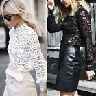 Stylish Women's Lace Blouse Long Sleeve T-Shirt Casual Cotton Blend Summer Tops