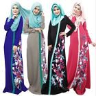 Women's Muslim Kaftan Arab Abaya Islamic Long Sleeve Cocktail Floral Maxi Dress