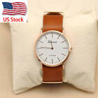 New Geneva Casual Men's Women's Leather Stainless Steel Quartz Wrist Watch_US &I