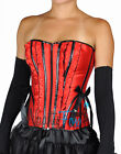46 Red Black Satin Lace Up Boned Ruffle Lace Corset Bustier Holiday Costume S-L