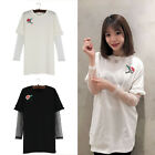 Womens Floral Embroidery Letter Printed Long Sleeve Lace T Shirt Patchwork Tops