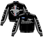 Ford Mustang Jacket CLG7 Black Collage Mens Cotton Twill By JH Design NEW