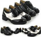 New Women's Vintage London Lace Up Block Chunky Heels Oxford College Plus size
