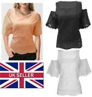 Womens Ladies Embroidered Top Loose Cold Shoulder Cut Out Batwing Blouse