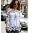 Women's fashion long-sleeve hollow lace chiffon blouse tops causl T-shirt XS-7XL