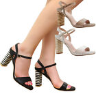 Ladies Womens Mid High Block Heel Strap Summer Peep Toe Party Sandals Shoes Size