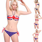 UK US Flag Stars & Stripes Padded Side Tie Bikini Swimsuit Swimwear Beachwear