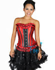 Sexy Red Satin Boned Lace Up Corset, Bustier Christmas Holidy Costume S-L
