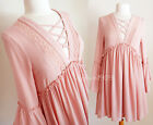 NEW Rose Pink Criss Cross Crochet BOHO Ruffle Bell Sleeves Babydoll Swing Dress