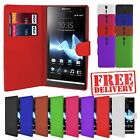 Genuine Smooth PU Leather Wallet Case Cover Flip Book Sony Xperia Smartphones