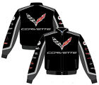 Corvette Jacket 2017 NEW Collage Mens Black Twill Jacket by JH Design