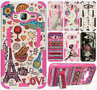 For Samsung Galaxy Amp Prime HYBRID KICK STAND Rubber Case Phone Cover