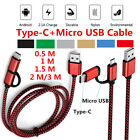 0.5M-3M 2 in 1 Type C 3.1 & Micro USB Braided Fast Charging Sync Data Cable Lot