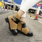 Fashion Women Round Toe Buckle Faux Suede Punk Ankle Boots Chunky Heel Zip Shoes