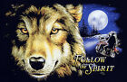 NEW Moon Light Wolf & HD Biker Follow the Spirit USA Motorcycle T Shirt