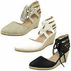 Ladies Anne Michelle Lace Up Rope Wedge Sandals  F9885