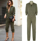 Womens Army green Casual Jumpsuit Rompers Shirt Pants Loose Trousers Suit M-XL