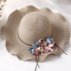 Ladies Anti UV Floral Summer Beach Wood Ear Brim Sun Hat Straw Cap Headwear