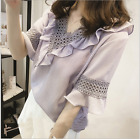 Fashion lady summer V-neck loose chiffon lace women's T-shirt Tops