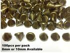 100pcs BRASS Acrylic CONE SPIKE STUDS sew on stitch on FASHION Embellishment