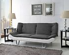 Fabric Sofa bed 3 Seater Egg Grey or Charcoal Fabric SofaBed Faux Leather Base