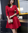 Women's fashion V-neck long sleeve dress Banquet casual dress mini skirt