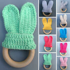 Safety Wooden Natural Baby Knit Rabbit Teething Teether Ring Bunny Sensory Toy