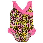 2B Real Baby Girls Fuchsia Ruffle Leopard Pattern One Piece Swimsuit 12-24M