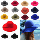 New Vintage Women's Wide Brim Wool Felt Bowler Fedora Hat Floppy Cloche Cap