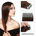 """Medium Brown 100% Real Remy Tape-In Human Hair Extensions 16-26""""  Professional"""