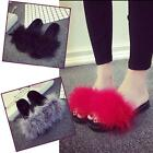 Women's Fur Fluffy Marabou Mules Slip On Sandals Feather Sliders Slippers Size S