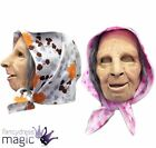 Deluxe Latex Scary Elderly Lady Old Woman Gran Granny Nana Soft Mask With Scarf