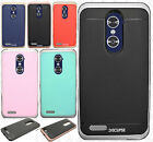 For ZTE Blade X Max Brushed Metal HYBRID Rubber Case Phone Cover Accessory
