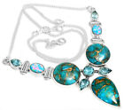 21g Copper Blue Turquoise & Blue Topaz 925 Silver Necklace Jewelry SN17696