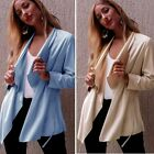 Fashion Women Faux Suede Lapel Casual Lace Up Belted Cardigan Coat N4U801