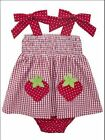 Rare Editions Infant Girls Red Strawberry Seersucker Summer Dress 3M 6M 9M New