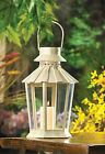 BULK LOTS Weathered Ivory Iron Tapered Pillar Candle Lanterns with Clear Glass