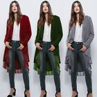 Velvet Open Front Cardigan Wrap Thick Autumn Jacket Outwear Coat Cover Up Frills
