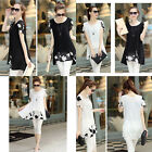 HOT Womens Chiffon Shirt Special Plus Size Short Sleeve Tops with Print Floral