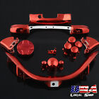 For Xbox 360 Controller Full Buttons Replacement Parts ABXY Bumpers - Chrome Red