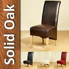 Pair Faux Leather Dining Chairs Scroll High Back Seat Roll Top Solid Oak Legs