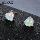 JUNXIN 925 Wedding Silver Rainbow Heart Stud Earrings Fire Opal Best Friend Gift